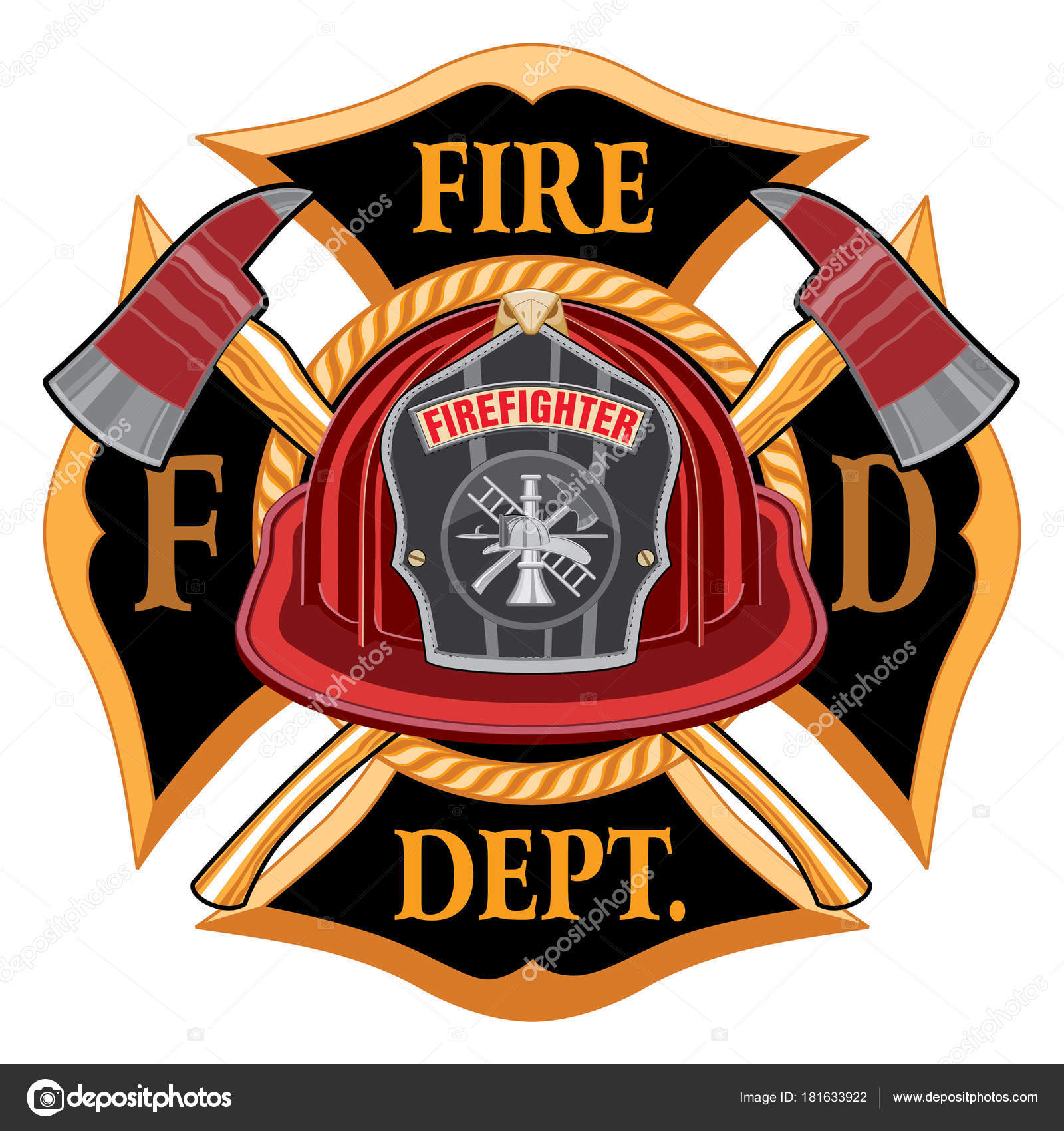 fire department cross vintage red helmet axes illustration vintage