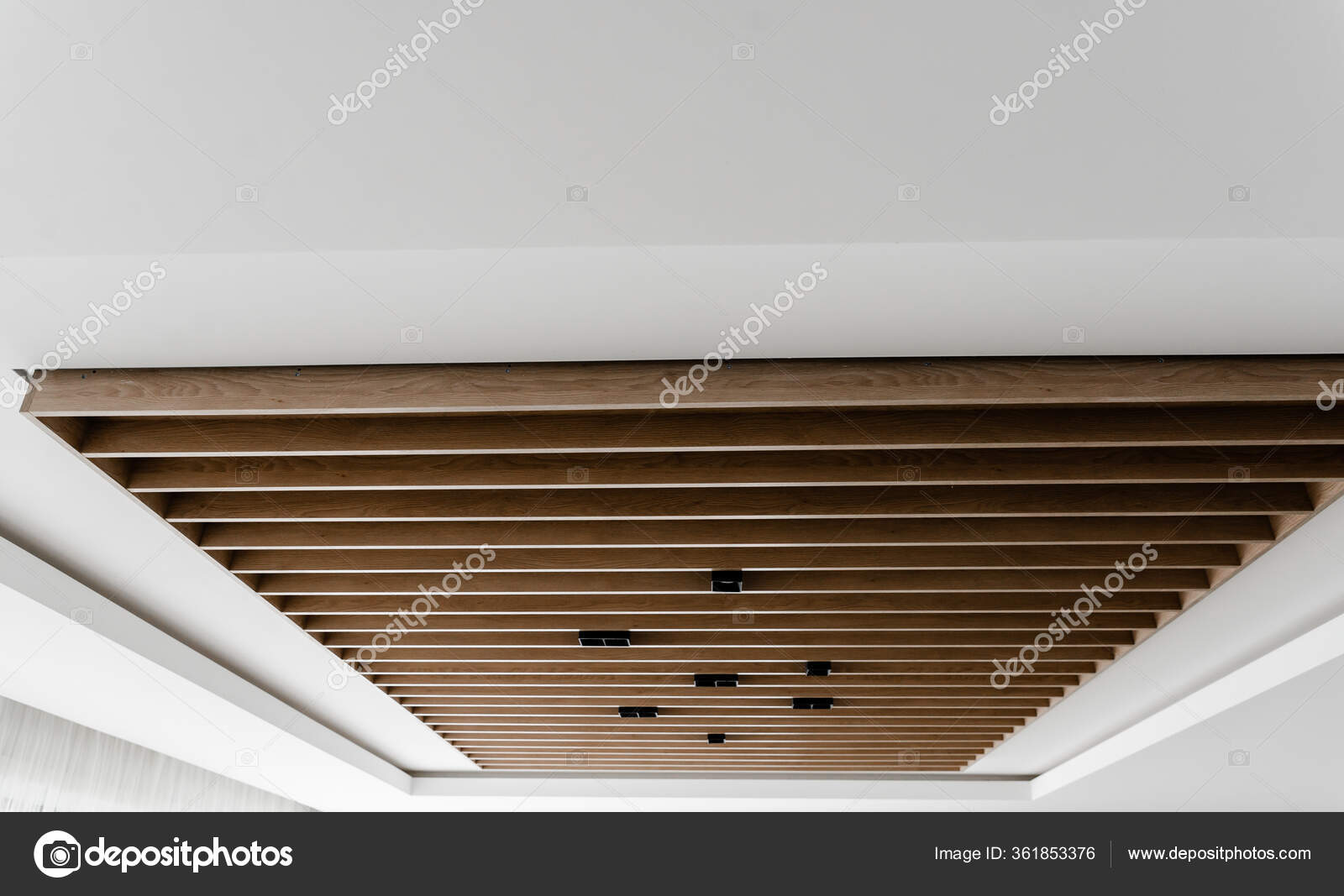 Creative Ceiling Wood Paneling Modern Wooden Suspended Ceiling Black Loft Stock Photo Image By C Vgunko95 Gmail Com 361853376