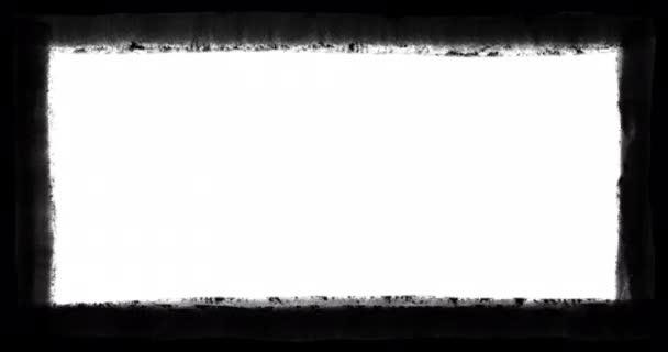 Grunge, černá, ručně kreslený rámeček kolem 4k filmového klipu