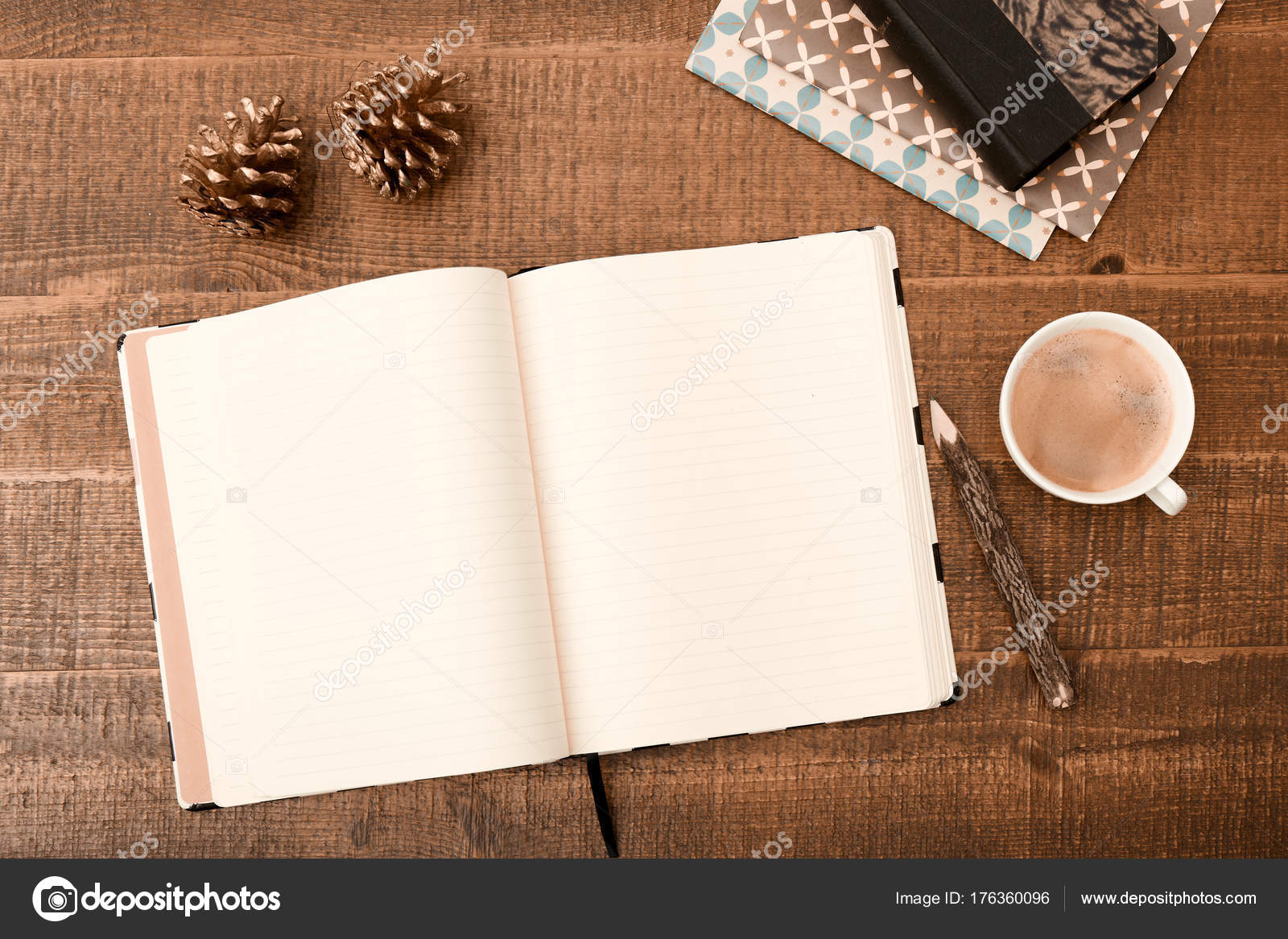 Office desk table top view with blank greeting card pencil top view with blank greeting card pencil christmas decoration and m4hsunfo