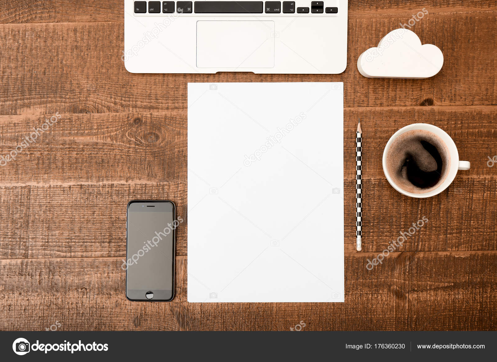 Office Desk Table Top View With Blank White Paper Laptop Pencil And Coffee
