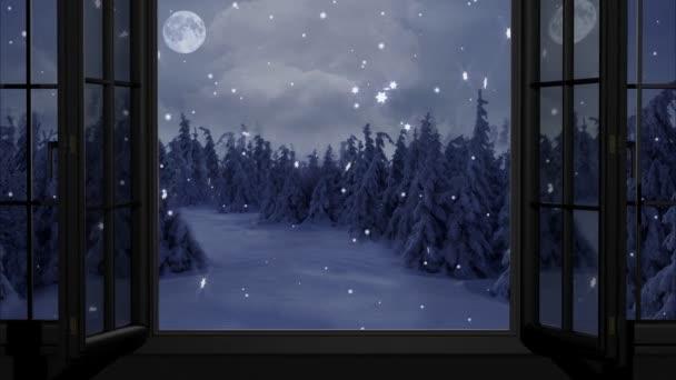 Šťastný nový rok, Vánoce, zimní pozadí, okno, měsíc