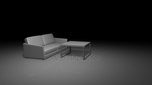 Animaci nábytek rotace pohovka, stůl a židle