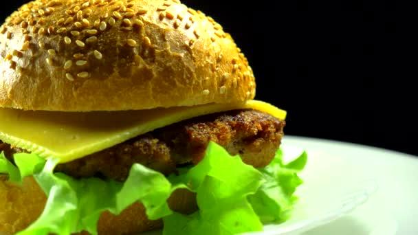 Hamburger close-up na talíři