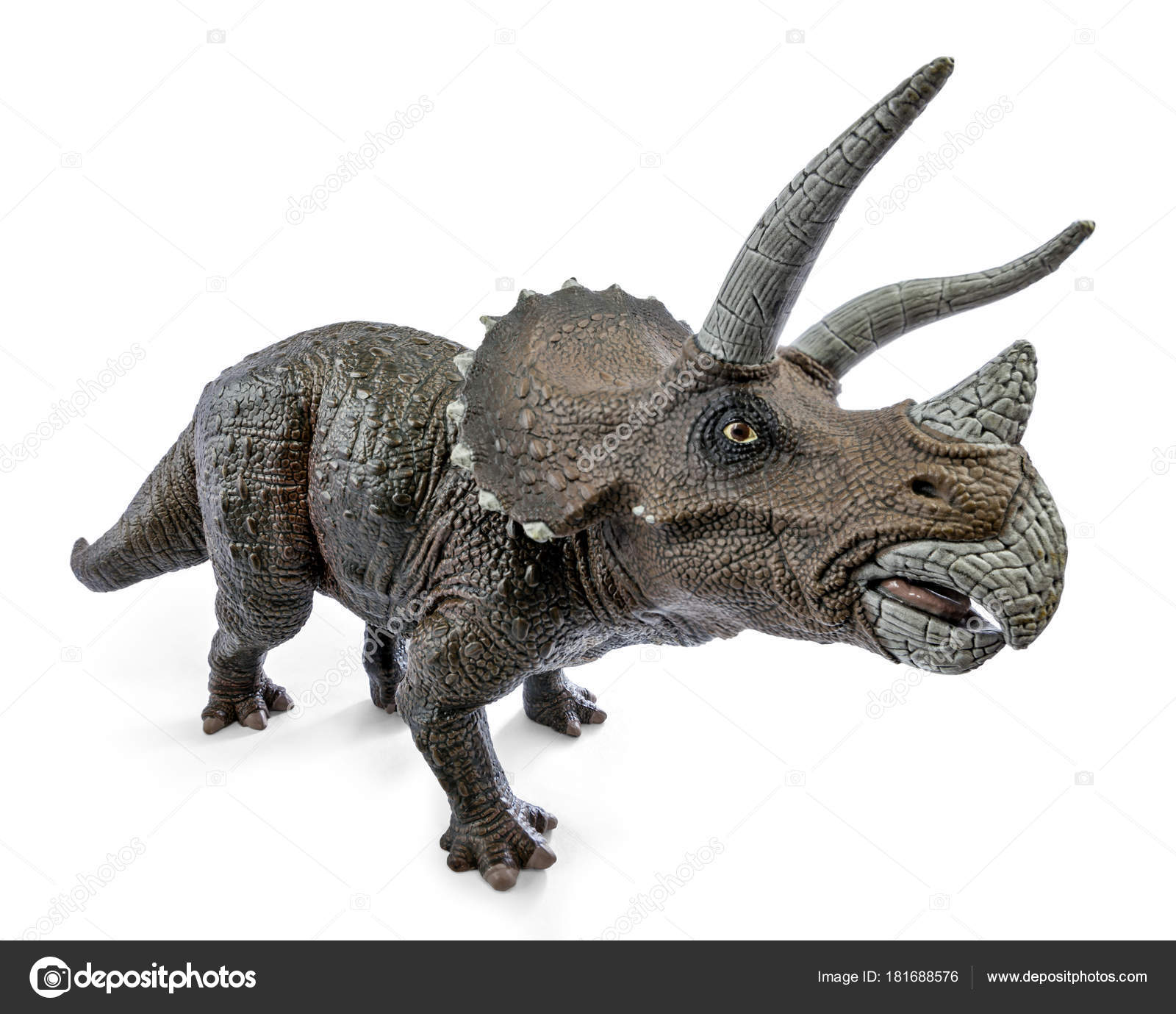 wide view of triceratops dinosaurs toy isolated on white background