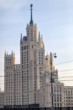 High-rise building on the Kotelnicheskaya embankment and Moskva-river.