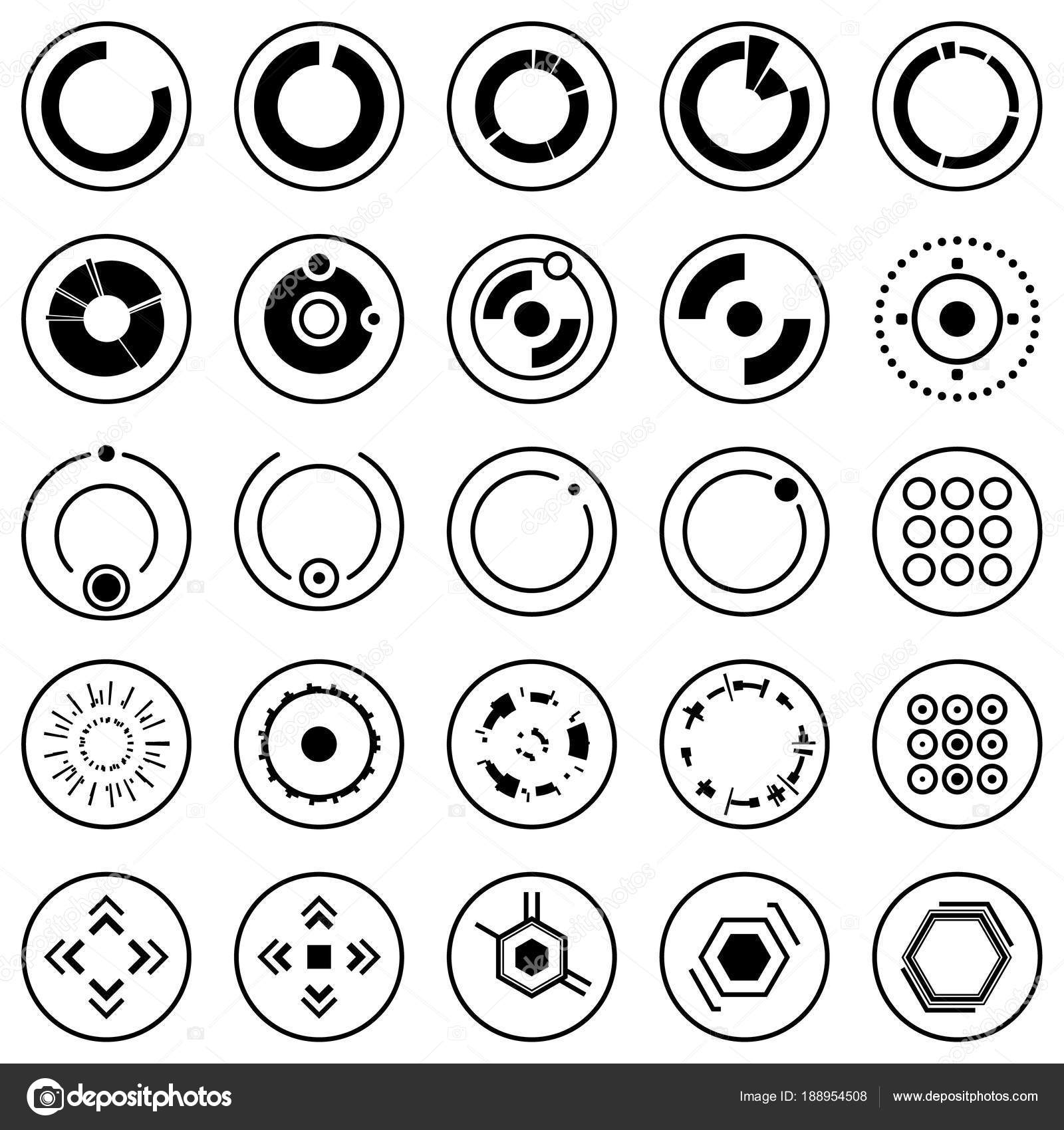 Futuristic Icons Set Of Infographic Elements And Symbols For User