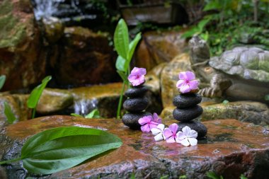 Stack of zen stones with flowers next to a garden mini waterfall