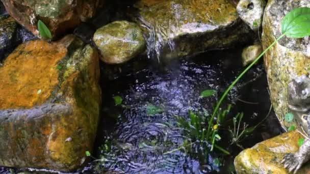 Mini vodopád skalní zahrady. Krásná a klidná krajina.