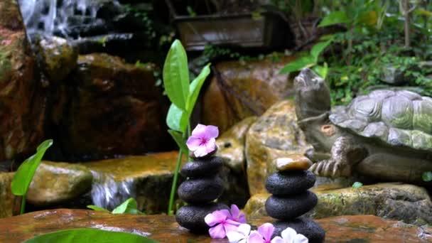 Žena dala růžový květ na vrcholu kamenů stohu s mini vodopádem a skalní zahrady pozadí. Zen, krása a wellness koncept.