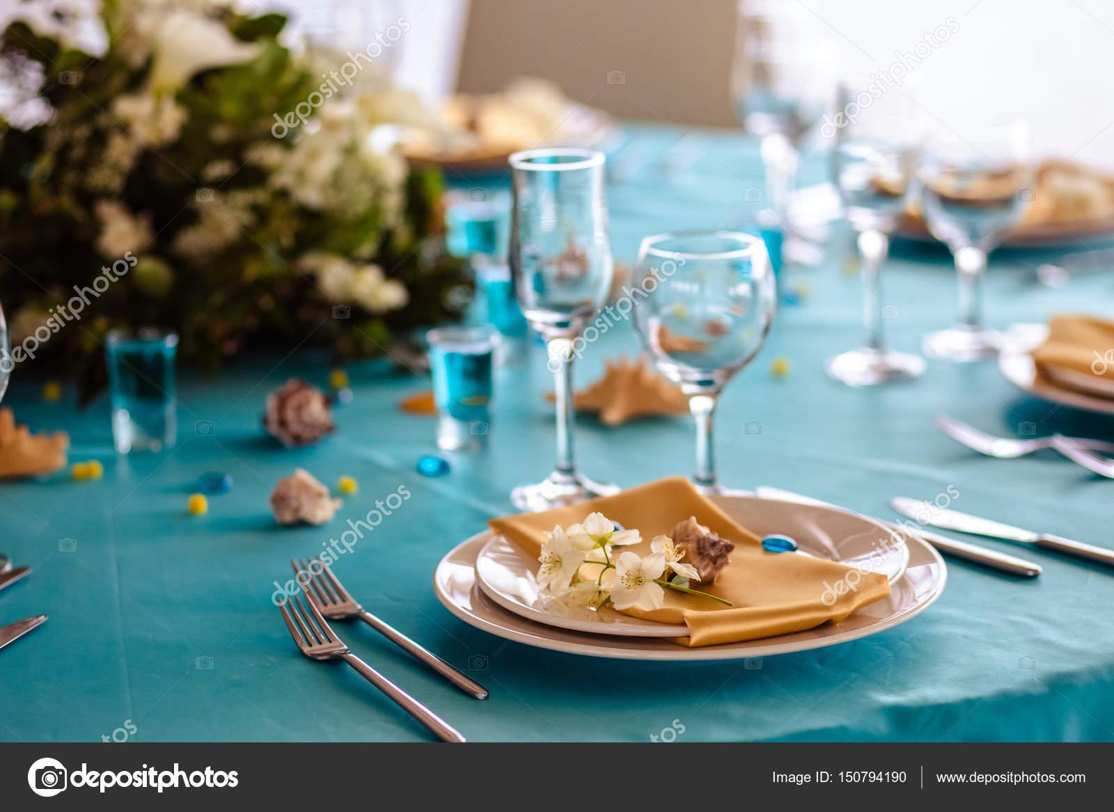 Hochzeit Dekoration In Blauer Farbe Meer Thema Stil Stockfoto
