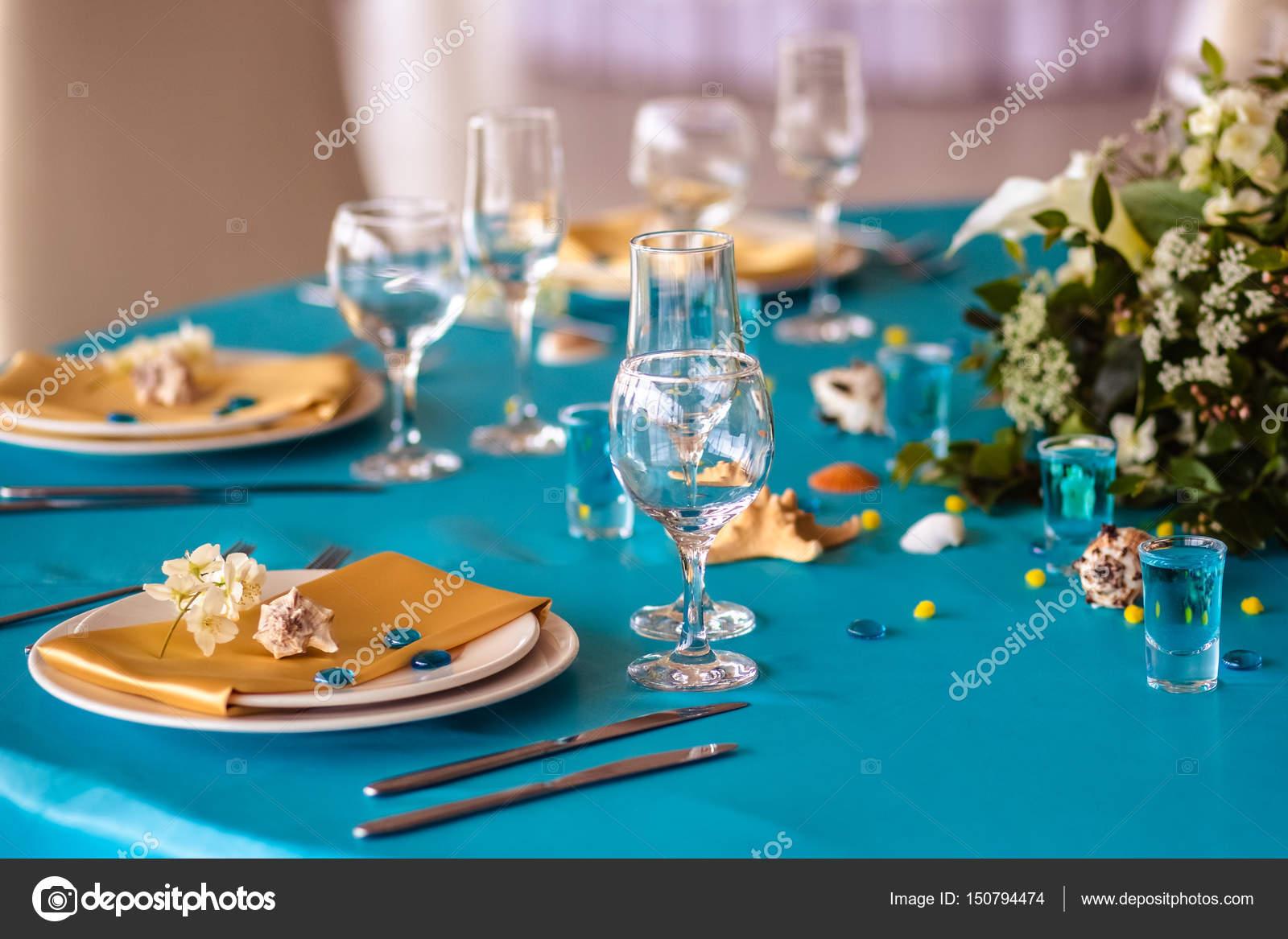 Wedding Decor In Blue Colors Sea Theme Style Stock Photo