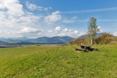 Place for rest on summer hill near Liptovsky Trnovec, Slovakia.
