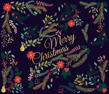 Vector Set of Floral Decorations for Christmas or the Winter Holidays