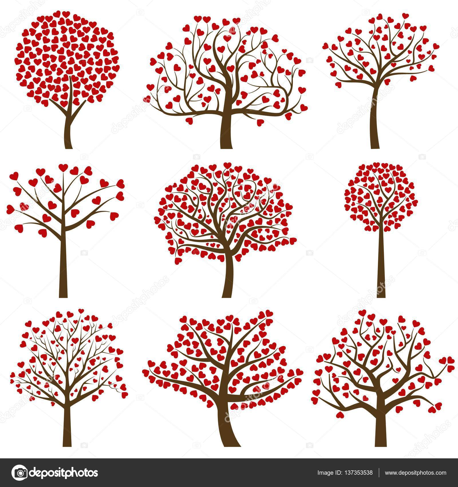 Valentines day tree silhouettes with heart shaped leaves vector valentines day tree silhouettes with heart shaped leaves vector format stock vector mightylinksfo