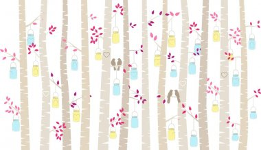 Valentine's Day Birch Tree or Aspen Silhouettes with Lovebirds and Mason Jar Lights - Vector Format