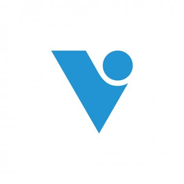 letter v geometric curves dot design logo vector