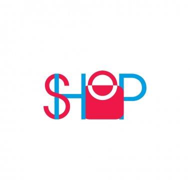 Text shopping bag decoration symbol vector icon