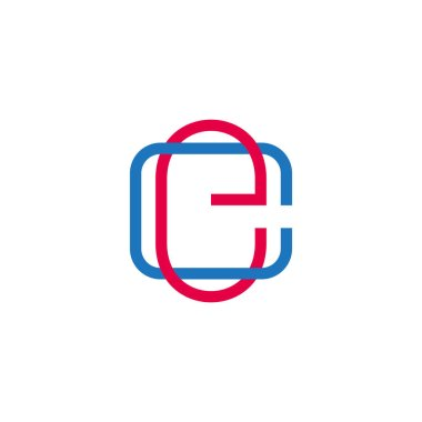 letter ce linked colorful overlapping line symbol logo vector
