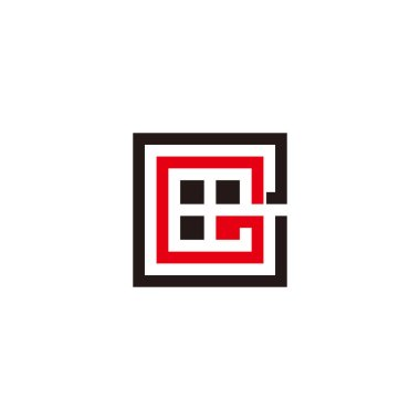 abstract letter ge square geometric windows logo vector