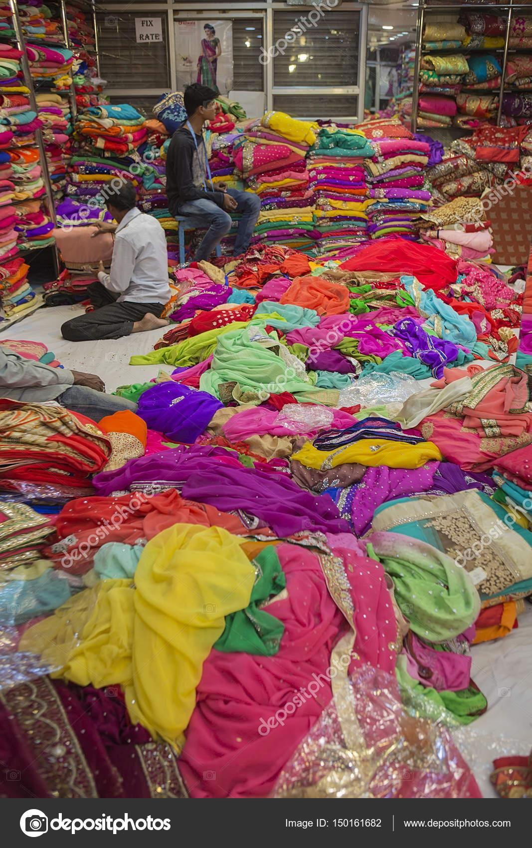 Jaipur Rajasthan India 2016 Sari Shop Indian Tradit Stock