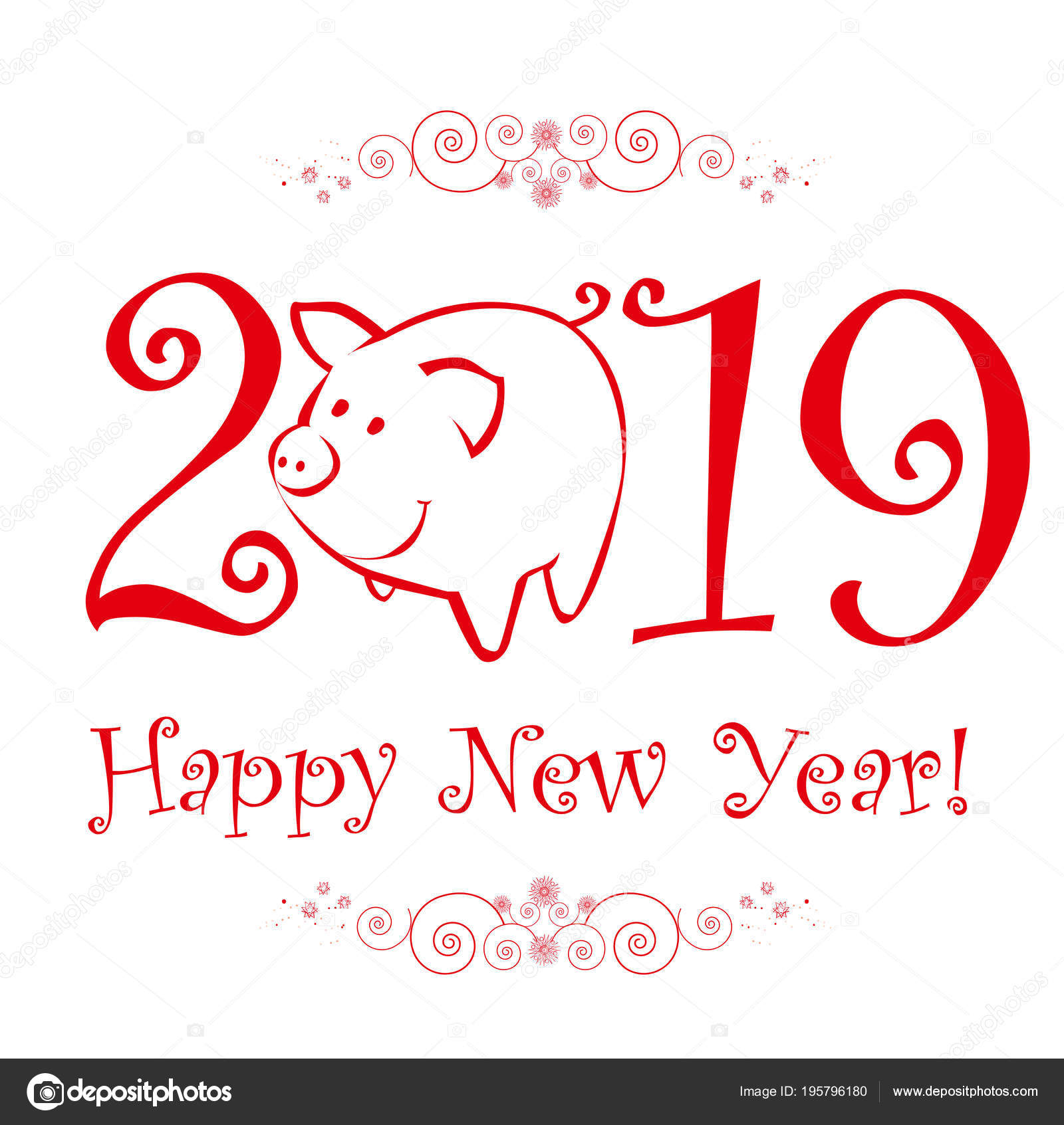 cute funny pig happy new year chinese symbol 2019 year stock vector