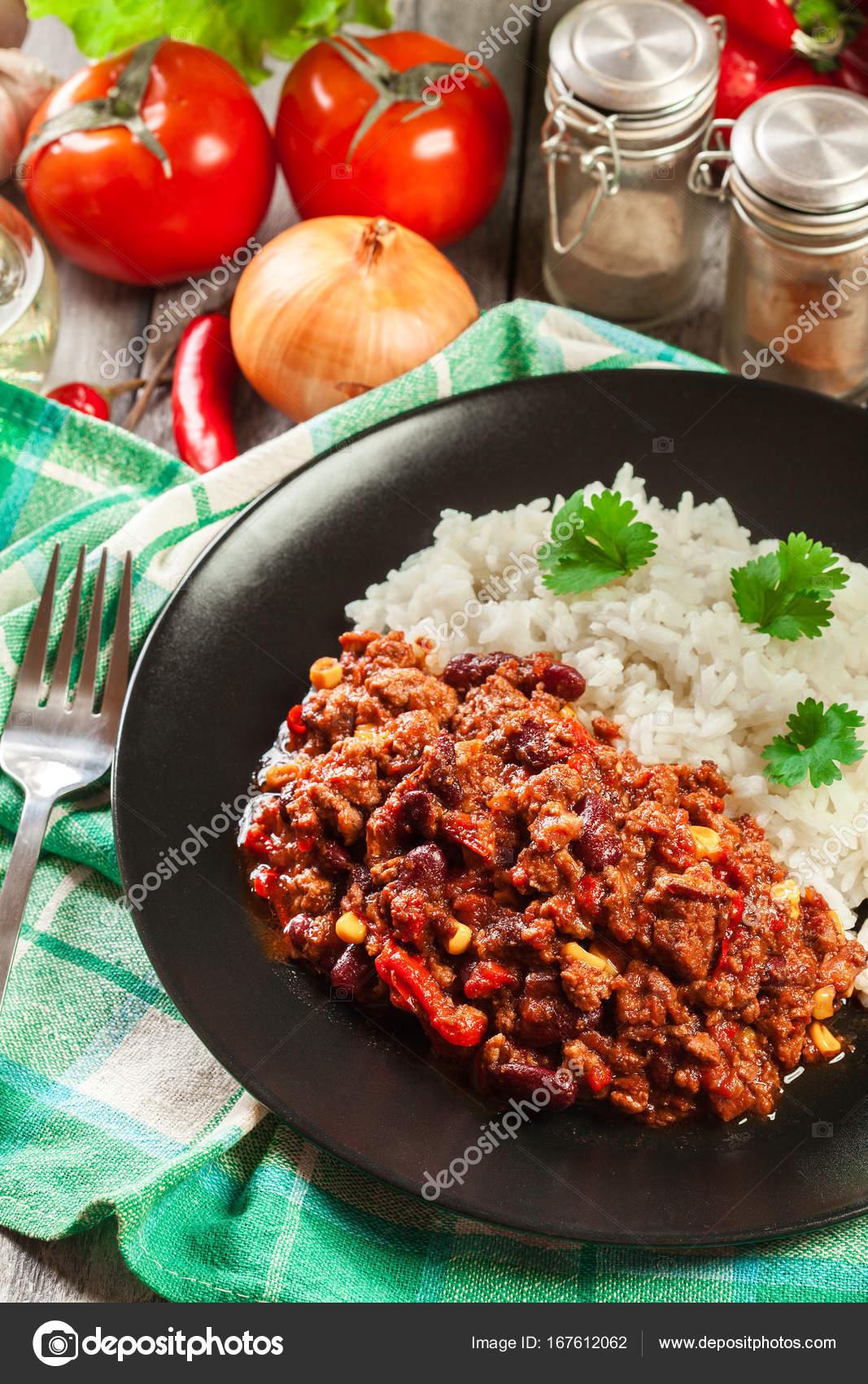 Hot Chili Con Carne Mit Hackfleisch Mais Bohnen Und Tomaten