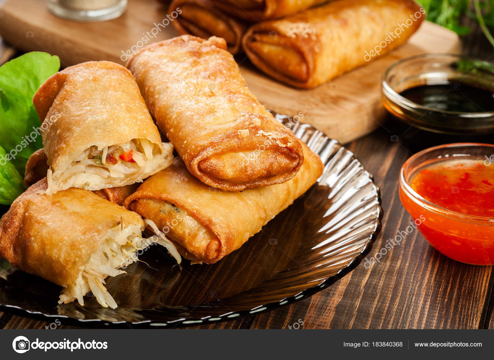 Spring Rolls With Chicken And Vegetables Served With Sweet Chili Sauce Or Soy Sauce Stock Photo Image By C Fotek 183840368