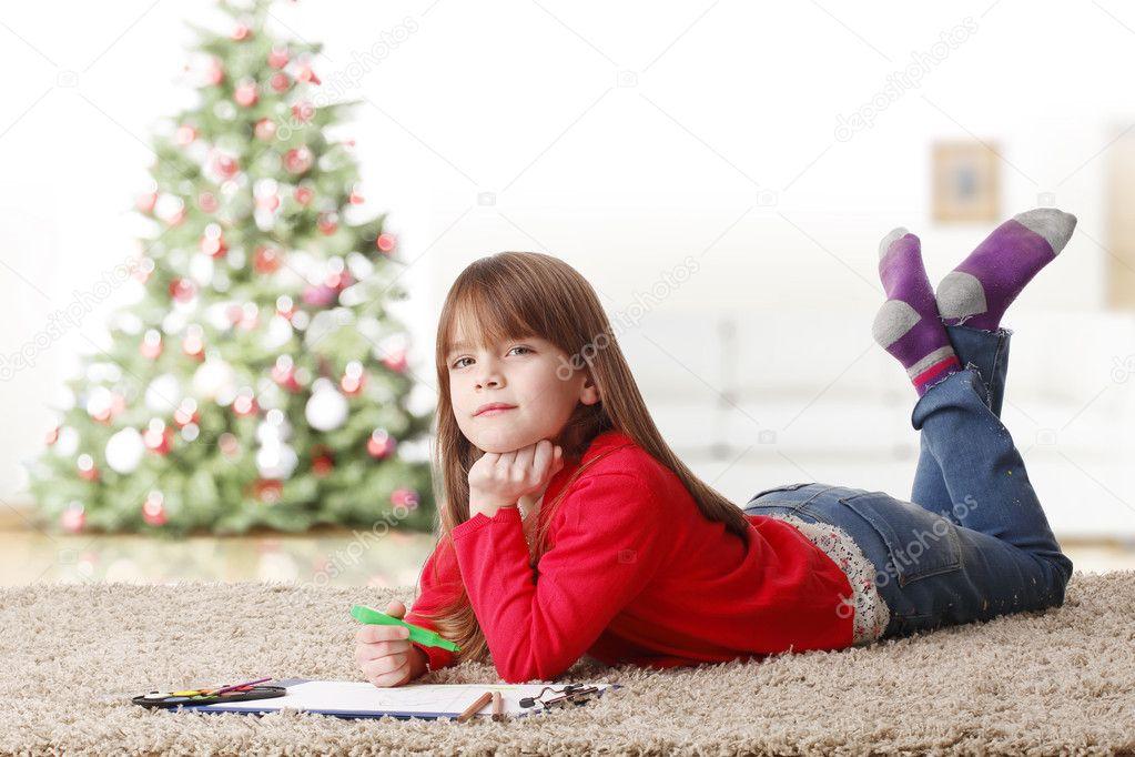 Cute Little Girl Lying On Floor Stock Photo 169 Sepy