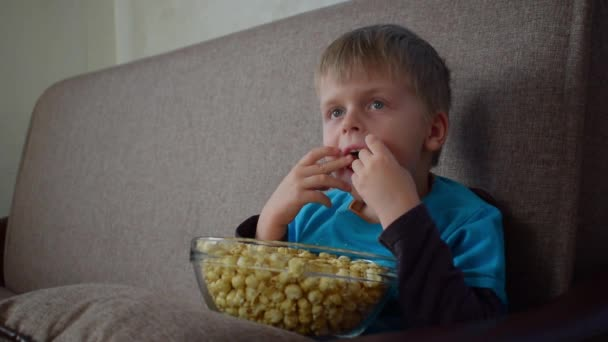 Cute kid with glass bowl of popcorn is watching cartoon movie