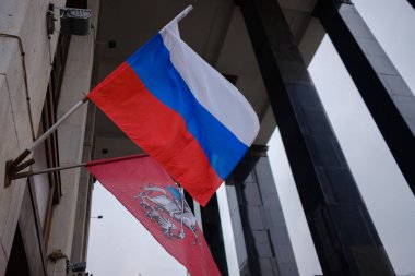National flag of Russian Federation and Moscow city flag