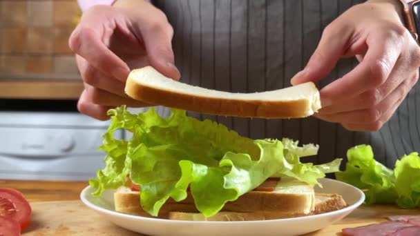 Woman cooking sandwich on the kitchen with salad, bacon and tomato