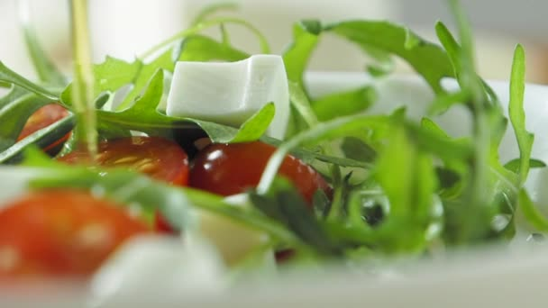 Pouring olive oil on salad with cherry tomato, cheese and rukkola, slow motion