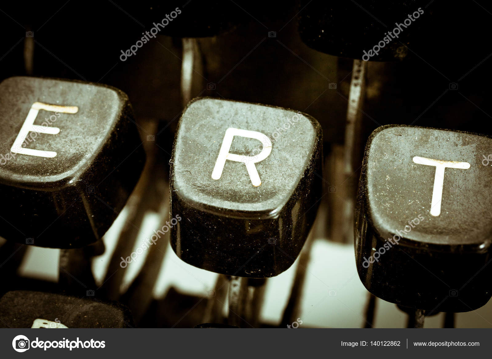 R Letter On A Vintage Typewriter Keyboard Stock Photo