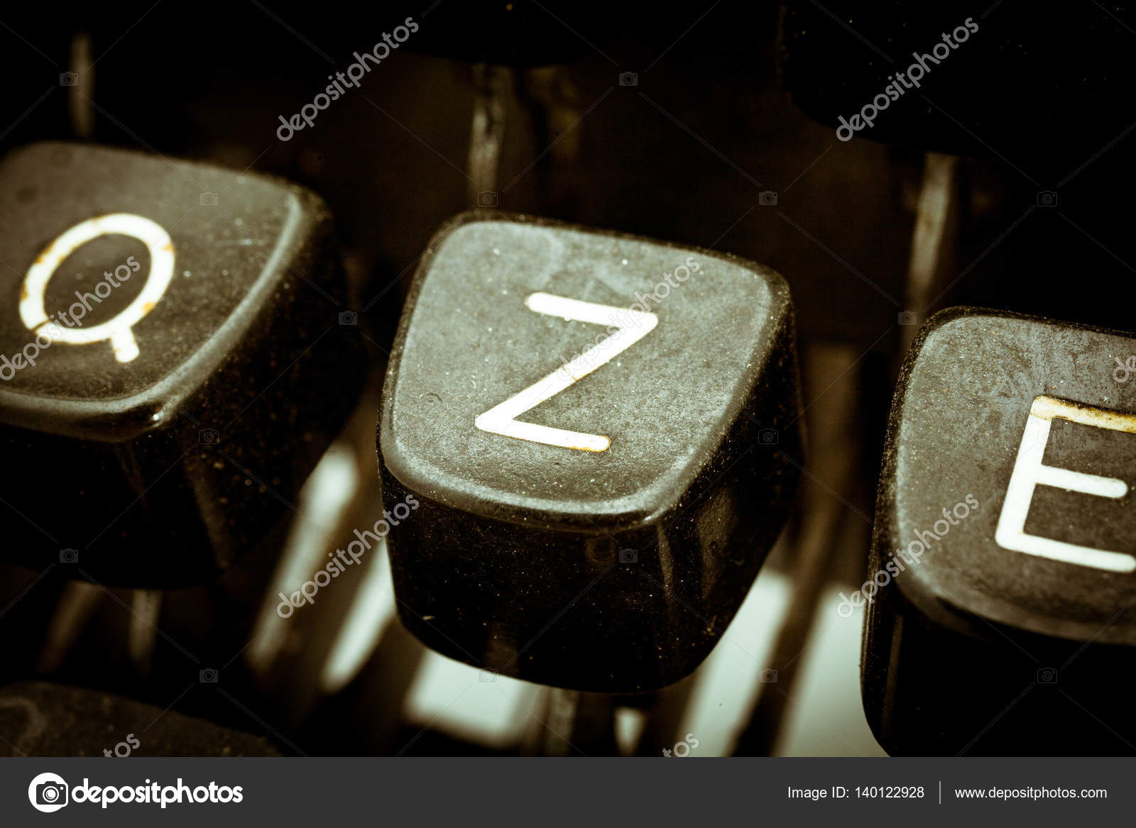 Z Letter On A Vintage Typewriter Keyboard Stock Photo