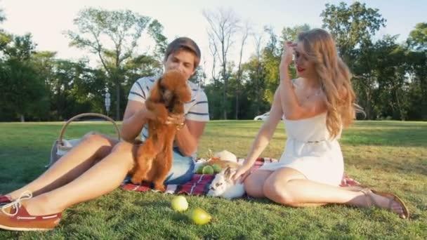 Paar spielt mit Hund und Kaninchen