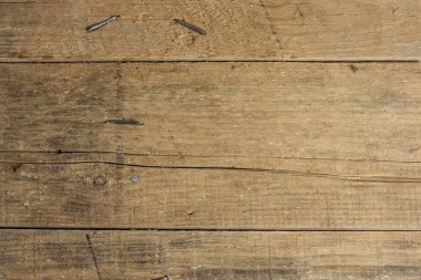 Wood texture. Old wood plank wall background for design and decoration with bent nails.