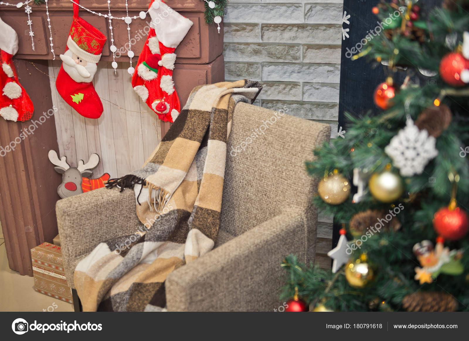 Weihnachtsbilder Kamin.Gemütliche Ecke Für Weihnachtsbilder Auf Der Mall 329 Stockfoto