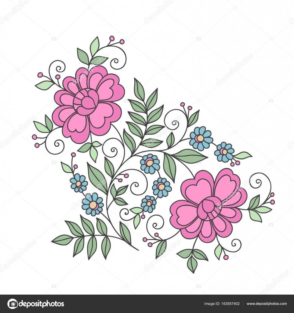 Elemento Di Disegno Del Fiore Ornamento Floreale Stilizzato