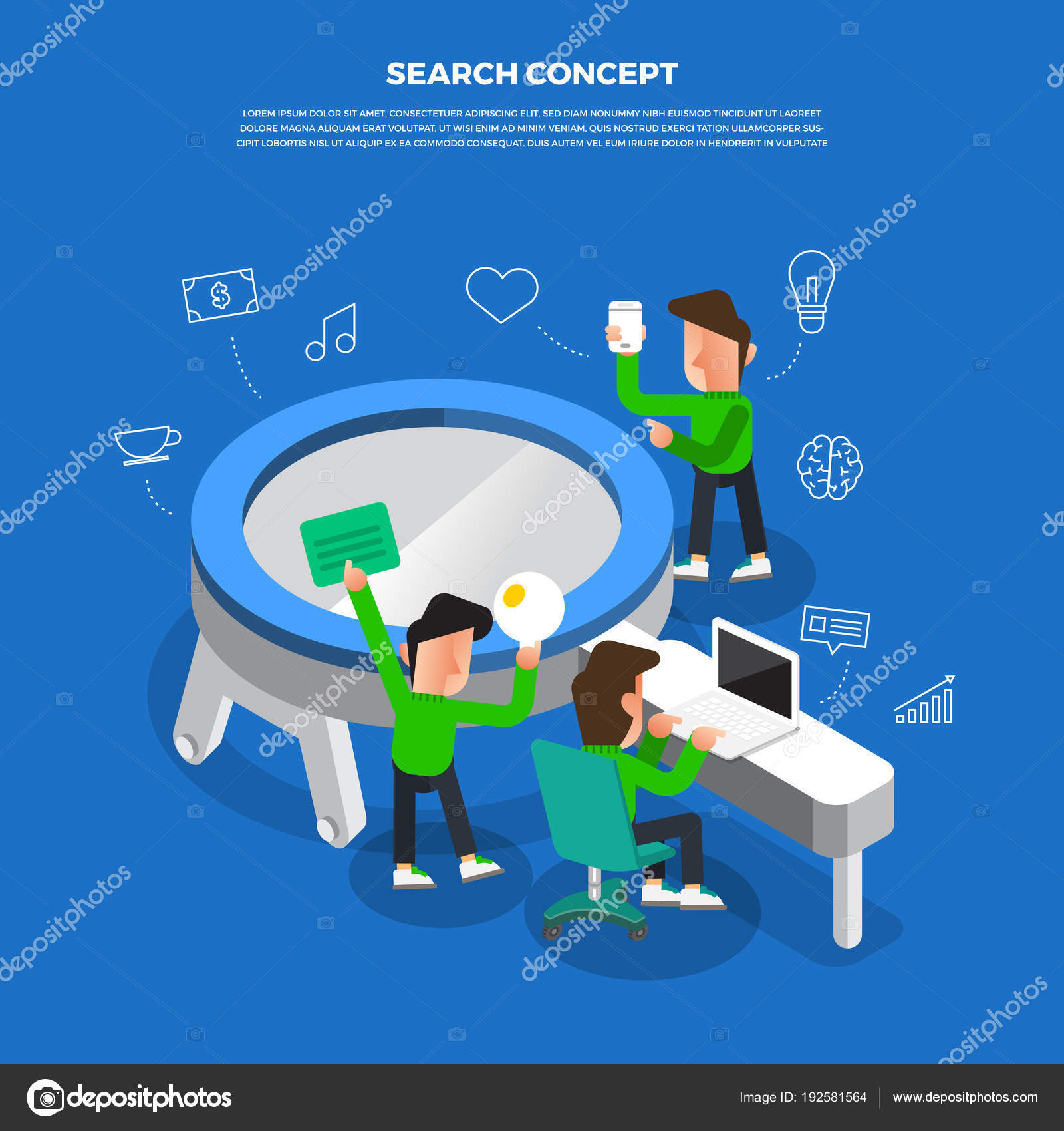 Flat Design Concept Brainstorm Working On Desktop Icon Search Stock Vector