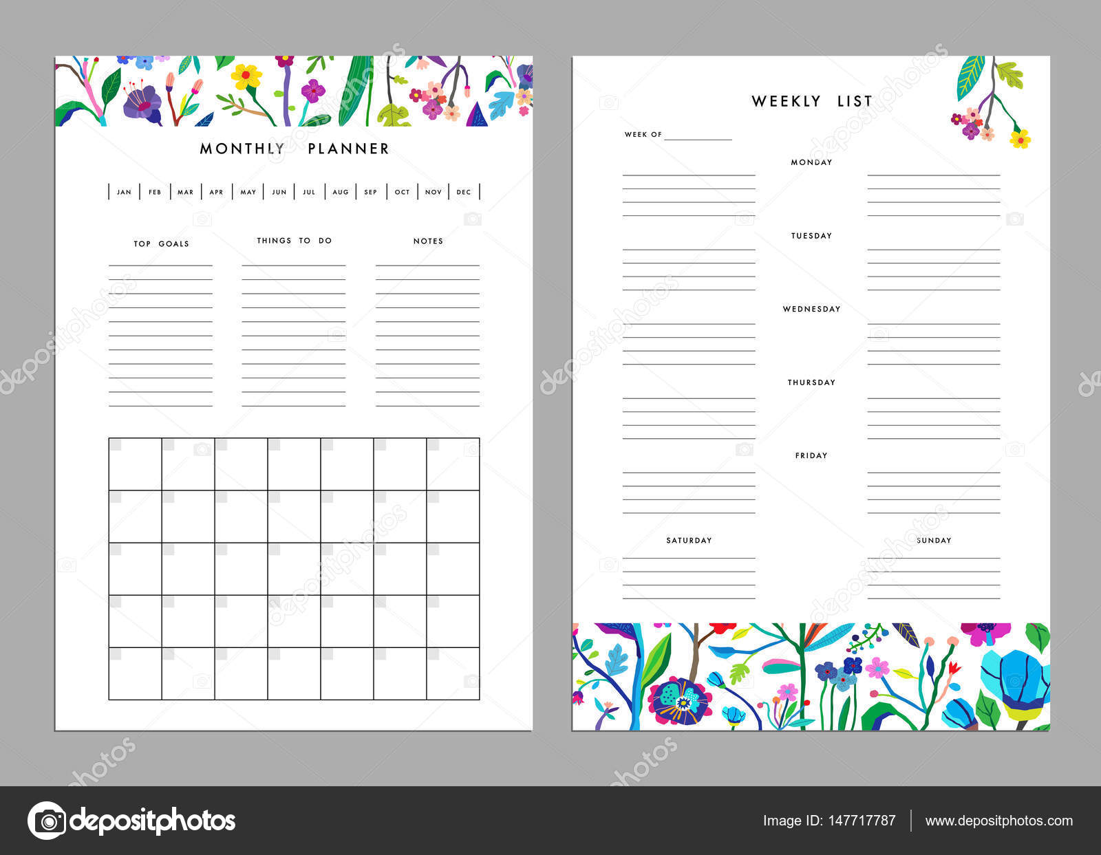 Plantillas de lista de planificador y semanal mensuales — Archivo ...