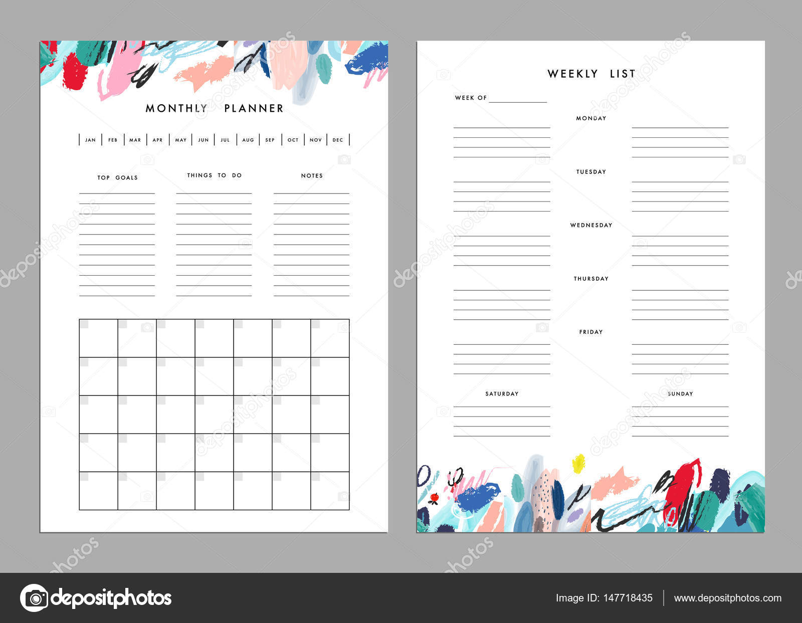 Weekly To Do List Template | Monthly Planner And Weekly List Templates Stock Vector C Leepoo