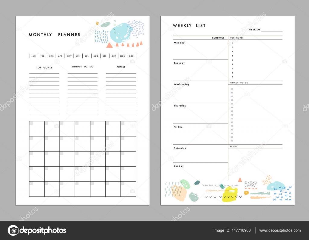 Plantillas de lista de planificador y semanal mensuales — Vector de ...