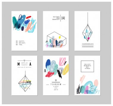 Set of creative cards with geometric shapes