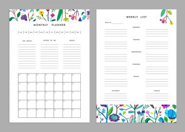 Monthly planner and weekly list templates
