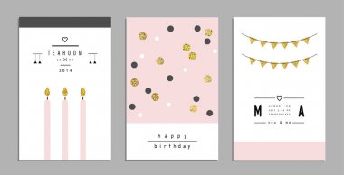 Collection of invitations with gold glitter texture. Vector illustration clip art vector