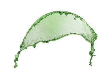 liquid splash green color on white background