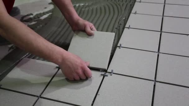 Master puts glues tile floor tiles laying tile adhesive stock master puts and glues tile floor tiles laying of tile adhesive stock footage ppazfo
