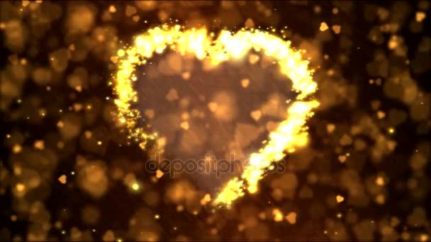 Szív alakú háttérben animáció - hurok arany