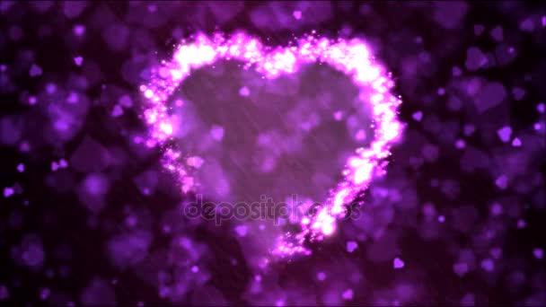 Szív alakú háttérben animáció - hurok lila